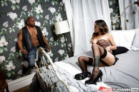 Tattooed girl Nadia Styles spreads long nylon clad legs for interracial sex