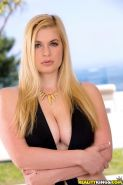 Masturbating big tits blondie Danielle Delaunay caught on camera outdoor