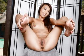 Amateur Asian Miko Dali shows off her tiny tits and shaved pussy #55017093