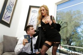 Tattooed blonde cougar Sarah Jessie exposing big tits to security guard