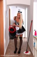 Jenny Simons reveals her milf pussy while pissing in her maid uniform