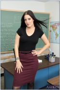 Seductive teacher in pantyhose Kimberly Kane stripping in the class
