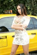 Busty babe on high heels Rachel Starr shows her cunt in a taxi cab