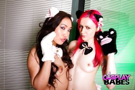Cosplay inclined Latina fetish enthusiasts Amy Latina and Vellocet go lesbo