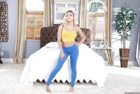 Teen babe Marsha May shedding yoga pants to expose hairy pornstar pussy