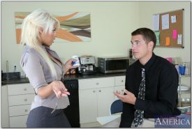 Hot blonde Bridgette B gets crammed with a huge cock in the office