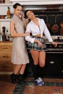 Sexy babe in school uniform Alyssia Loop gets punished and spanked