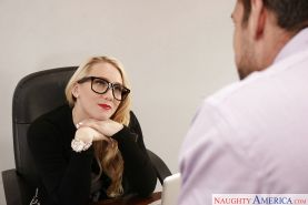Glasses clad blonde secretary AJ Applegate having 69 sex on office desk