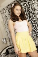 Teen babe with brunette hair Gracie Glam shows off in high heels