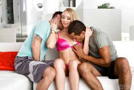Pornstar AJ Applegate giving head to two cocks and taking multiple cumshots