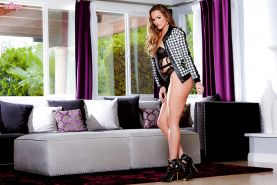 High heel and lingerie attired babe Tori Black flaunting sexy pornstar ass