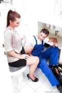 Stockings clad Cindy Dollar removes tight skirt for blowjob in the kitchen