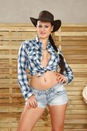 Gorgeous busty cowgirl Billie Star showing off her hairy European cunt