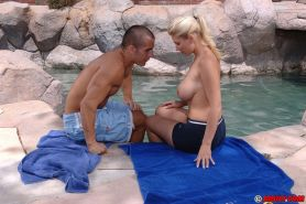 Juggy MILF Devon Lee gets fucked and facialized at the poolside