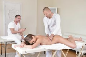 Euro beauty Tina Kay getting massaged and fucked by 2 guys at same time