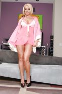 Curvy MILF in lingerie Mellanie Monroe stripping and spreading her legs