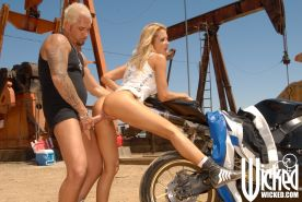 Horny MILF with big tits Jessica Drake fucking a biker's dick outdoor
