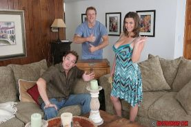 Top-heavy MILF Sara Stone enjoys a fervent threesome with hung lads