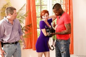 Hot MILF Veronica Avluv sheds tight dress to suck BBC in interracial threesome