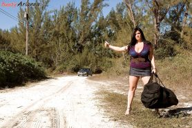 Huge melloned Arianna Sinn was hitchhiking in slutty outfit when she was picked up by handsome well hung dude.