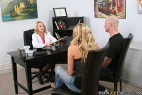 Hot blonde in uniform Shawna Lenee is satisfied by a big cock