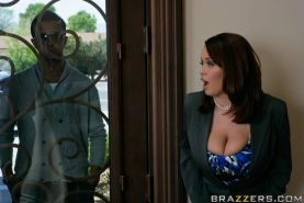 Chubby wife with big boobs Brandy Talore has sex with a big stiff dick