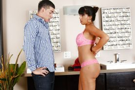 Cute Latina Mercedes Carrera is sucking this guy's dick and fucking