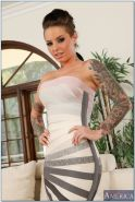 Charming tattooed hottie Christy Mack gets rid of her dress and panties