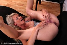 Close up pissing scene reveals tiny tits beauty with shaved cunt Delphine #50790039