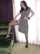 Mature lady in stockings Karen Kougar uncovering her fuckable curves