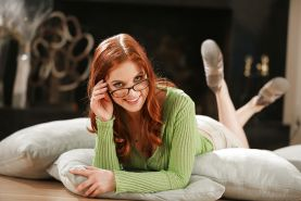 Penny Pax in glasses undressing for lesbian kiss with hot MILF Alana Evans