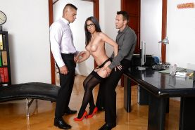 Beautiful secretary Julia D Lucia giving blowjob while getting fucked