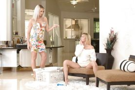 Blonde MILF lesbians Marsha May and Brooke Paige engage in rough sex