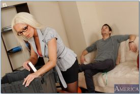 Graceful blonde in glasses Diana Doll gives a blowjob and gets pounded