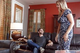 Tatted blonde MILF Julia Ann riding her son's best friend after seducing him