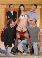 Hot slut in stockings Bobbi Starr gets blowbanged and fucked by four guys