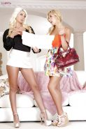 Sweet Latina Lesbians Carmen Caliente and Jazy Berlin are fingering