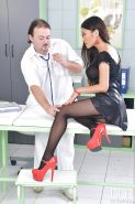 Foot fetish scene features Asian brunette PussyKat in pantyhose