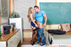 Sexy teacher in pantyhose and high heels rides student cock for facial cum