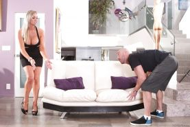 Pretty big tit blonde Abbey is banged in her tight wet holes