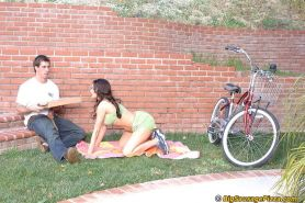 Mature latina slut Sheila Marie gets banged by a studly pizza-guy outdoor