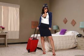Buxom Latina stewardess Lezley Zen removes sunglasses and uniform