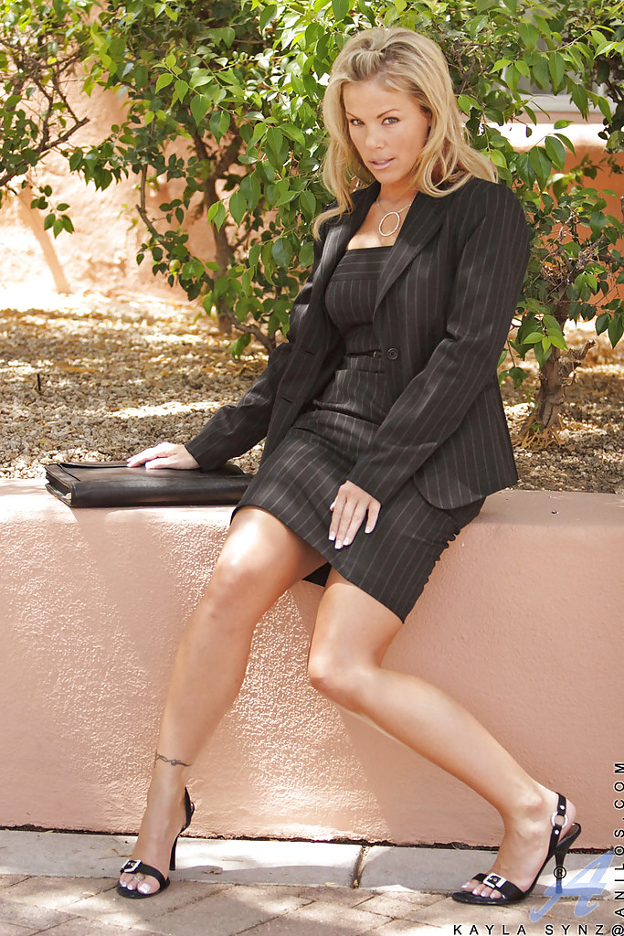 Mature lady Kayla Synz in black skirt shows of her hot big tits. #51433019