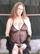 Chubby MILF with massive jugs Kitty Lee stripping off her lingerie
