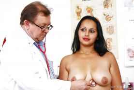 Older lady Rosita Black visits Gyno doctor for hairy pussy examination