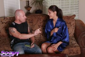 Perky masseuse gives a mano job and a sensual nooky to her client