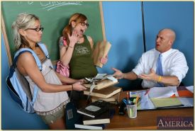 Slutty coeds Kacey Jordan and Scarlett Pain pleasing their teacher