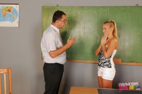 Naughty teen babe gets fucked by her older teacher in the class