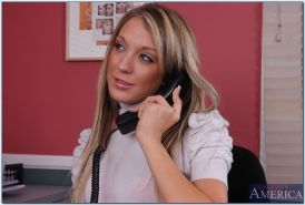 Blond office babe with tiny tits Amy Brooke putting on a hot striptease