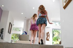 Teen hotties Lexi Belle and Jessie Andrews have hardcore groupsex